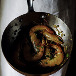 Gambas flambées with Cognac